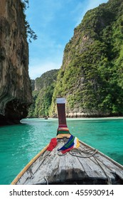 Traditional longtail boat in pile bay on Koh Phi Phi Leh Island, Krabi, Southern of Thailand