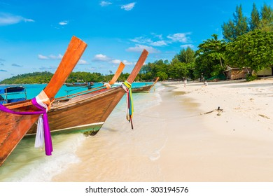 Traditional longtail boats in the famous Lipe island, Satun province, Thailand
