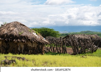 Traditional Maasai Village with Clay Round Huts in Engare Sero area near Lake Natron and Ol Doinyo Lengai volcano in Tanzania, Africa - Shutterstock ID 1816912874