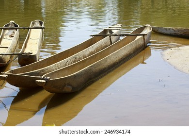 Traditional malagasy boat- canoe, africa, madagascar