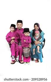 traditional malay family during hari raya occasion