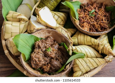 Traditional Malay food available during the fasting month / Popular Ramadan Food / Food like lemang, ketupat, ketupat palas, beef and chicken rendang and serunding are commonly eaten together