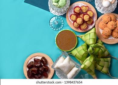 Traditional Malay Food and cookies during Ramadan and Eid Mubarak. Hari Raya Aidilfitri Festive