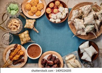 Traditional Malay Food and cookies during Ramadan and Eid Mubarak. Hari Raya Aidilfitri Festival
