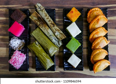 Traditional Malaysian food, variety of delicious and popular assorted sweet dessert or simply known as kueh or kuih.
