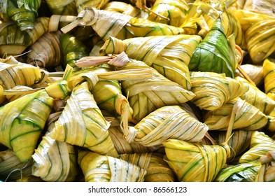 Traditional malaysian food when celebrating hari raya. This food called ketupat palas.
