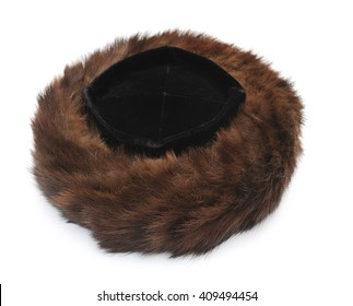 Traditional male jewish fur hat over white