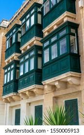 Traditional Malta colorful balconies in Valetta