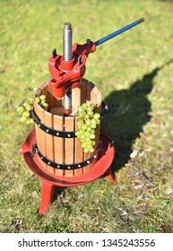 Traditional manual grape crusher