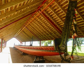 Traditional Maori canoe at Waitangi Treaty Grounds, New Zealand