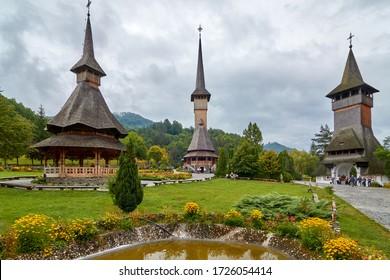 Traditional Maramures wooden architecture, Barsana, Maramures County near Baia Mare, Romania