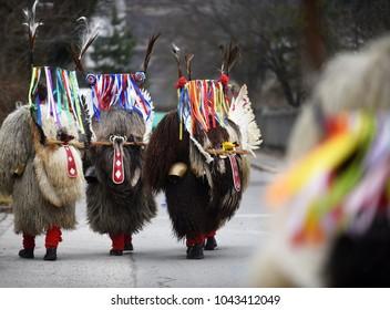 "Traditional mardi gras costume from Slovenia (Europe) ""kurent""."