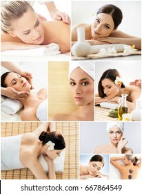 Traditional massage collection. Rejuvenation, health care, healing and medicine concept. Beautiful women in spa.