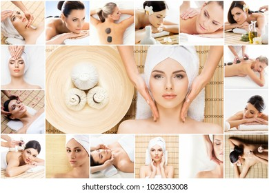Traditional massage and healthcare treatment in spa. Young, beautiful and healthy girls having therapy. Collage collection.