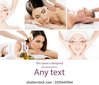 Traditional massage and healthcare treatment in spa. Young, beautiful and healthy girls having recreation therapy. Collage collection.