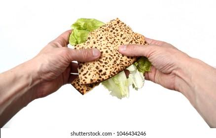 "Traditional matza sandwich ""korech"" for jewish passover"