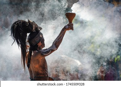 Traditional mayan smoke ceremony in Mexico.