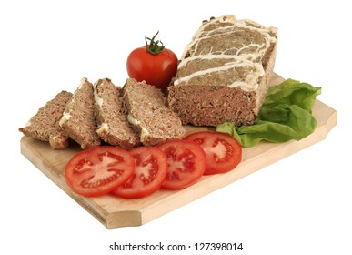 Traditional meat dish for Easter (drob) isolated on white
