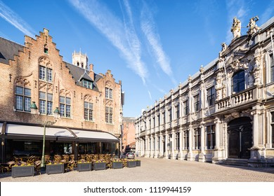 Traditional medieval architecture in the old town of Bruges (Brugge), Belgium
