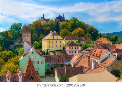 Traditional medieval architecture of Sighisoara citadel in a sunny day, Transylvania region of Romania