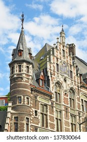 Traditional medieval facades in historical center of Brussels, Belgium