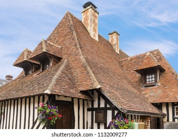 Traditional Medieval Half-Timbered House with A Frame Sloping roof in Europe
