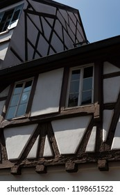 Traditional medieval house with brown wooden beams built into the walls, Heidelberg, Germany, Europe