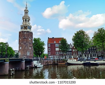 Traditional medieval watertower - Montelbaan tower - in Amsterdam Netherlands