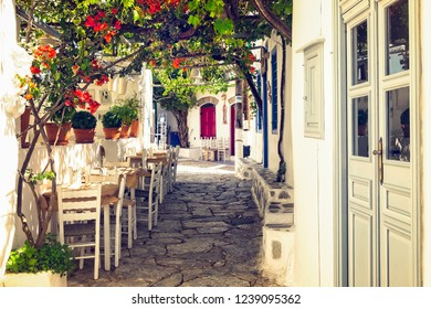 Traditional mediterranean colorful street on Amorgos island, Cyclades, Greece