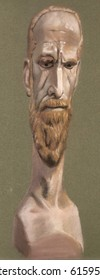 traditional medium of pastel drawing of a caricature mannequin male head