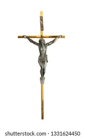 Traditional metal crucifix isolated on white
