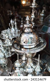 Traditional metal goods in shop in the medina of Tunis,Tunisia