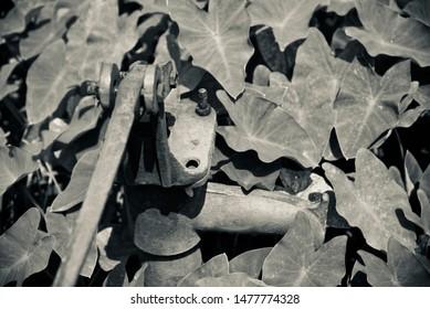 Traditional metallic hand tube well isolated object photo