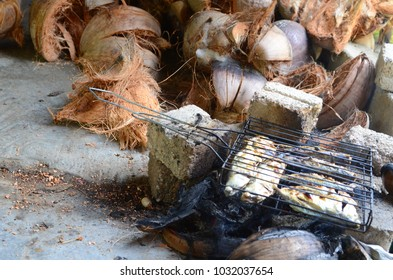 traditional methods of fish grilled with coconut fiber