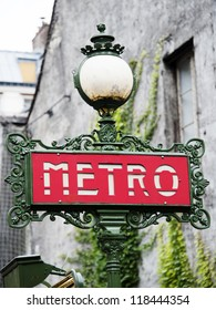 A traditional metro sign in Paris- France