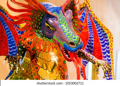 Traditional mexican art sculptures alebrije folklore