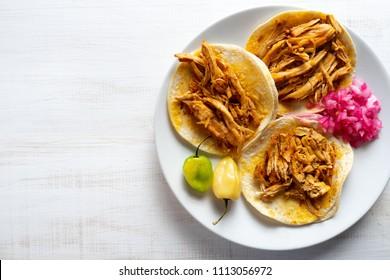 Traditional mexican cochinita pibil tacos