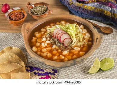 Traditional Mexican corn soup. Delicious pozole made with corn grains