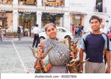 Traditional mexican crafts vendors at taxco guerrero.
