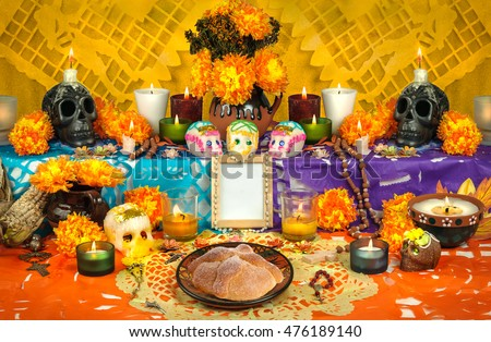traditional mexican day of the dead altar with sugar skulls and candles - Traditional Mexican Christmas Dinner