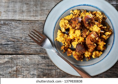 Traditional mexican egg with chorizo