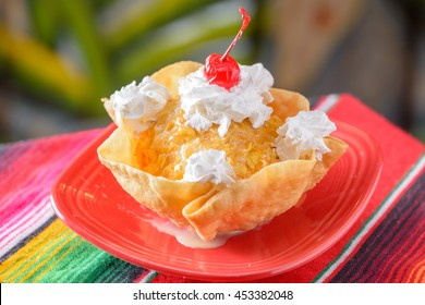 Traditional Mexican food dessert fried ice cream with copy space