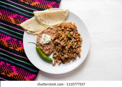 Traditional mexican machaca with egg