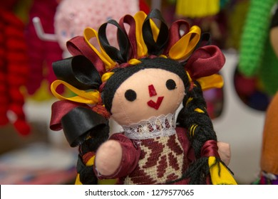Traditional mexican Maria rag dolls, male and female being sell at downtown Queretaro