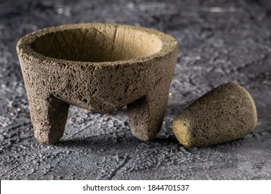 Traditional mexican molcajete used to grindes chiles and species