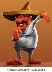 traditional mexican with a sombrero and smiling