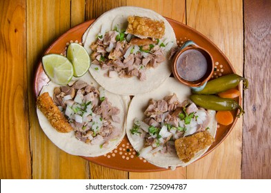 Traditional mexican tacos carnitas