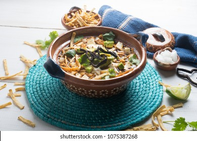 Traditional mexican tortilla soup