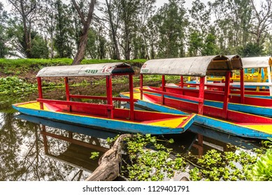 Traditional Mexican trajinera boat in Xochimilco channels and lake of Xochimilco floating in Mexico City - trajineras boats