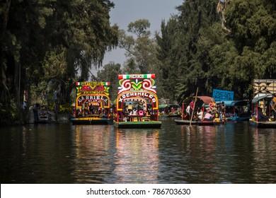Traditional Mexican trajineras, in Xochimilco November.12.2017